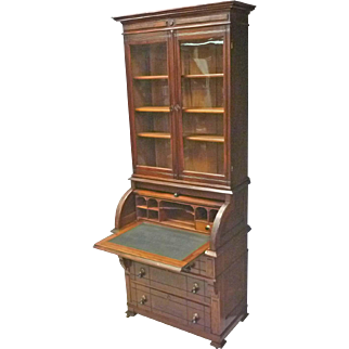 Narrow Cylinder Roll Secretary Desk