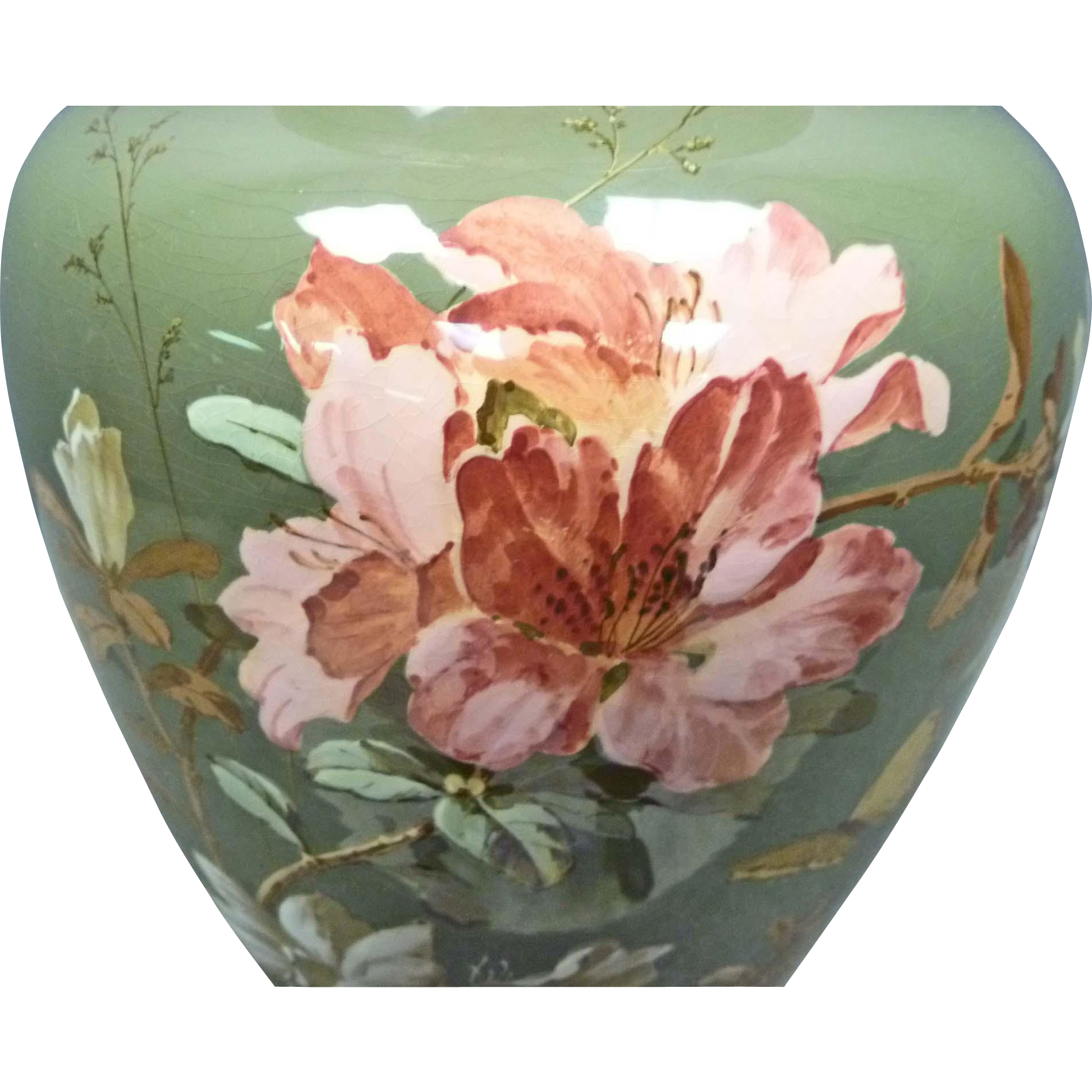 Large Hand Painted Porcelain Vase