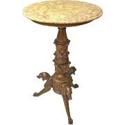 Victorian Marble Top Stand with Dogs