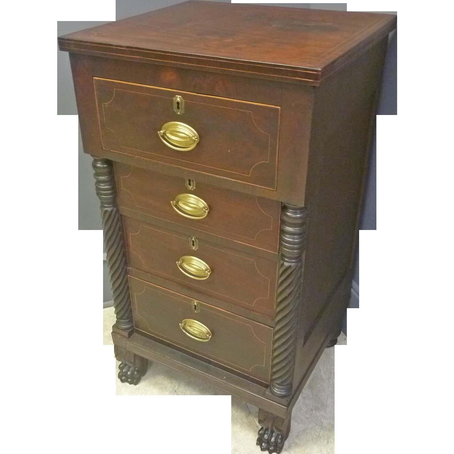 Mahogany Empire Side Cabinet