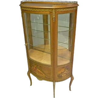 French Style Hand Painted Gold Vitrine, Curio Cabinet