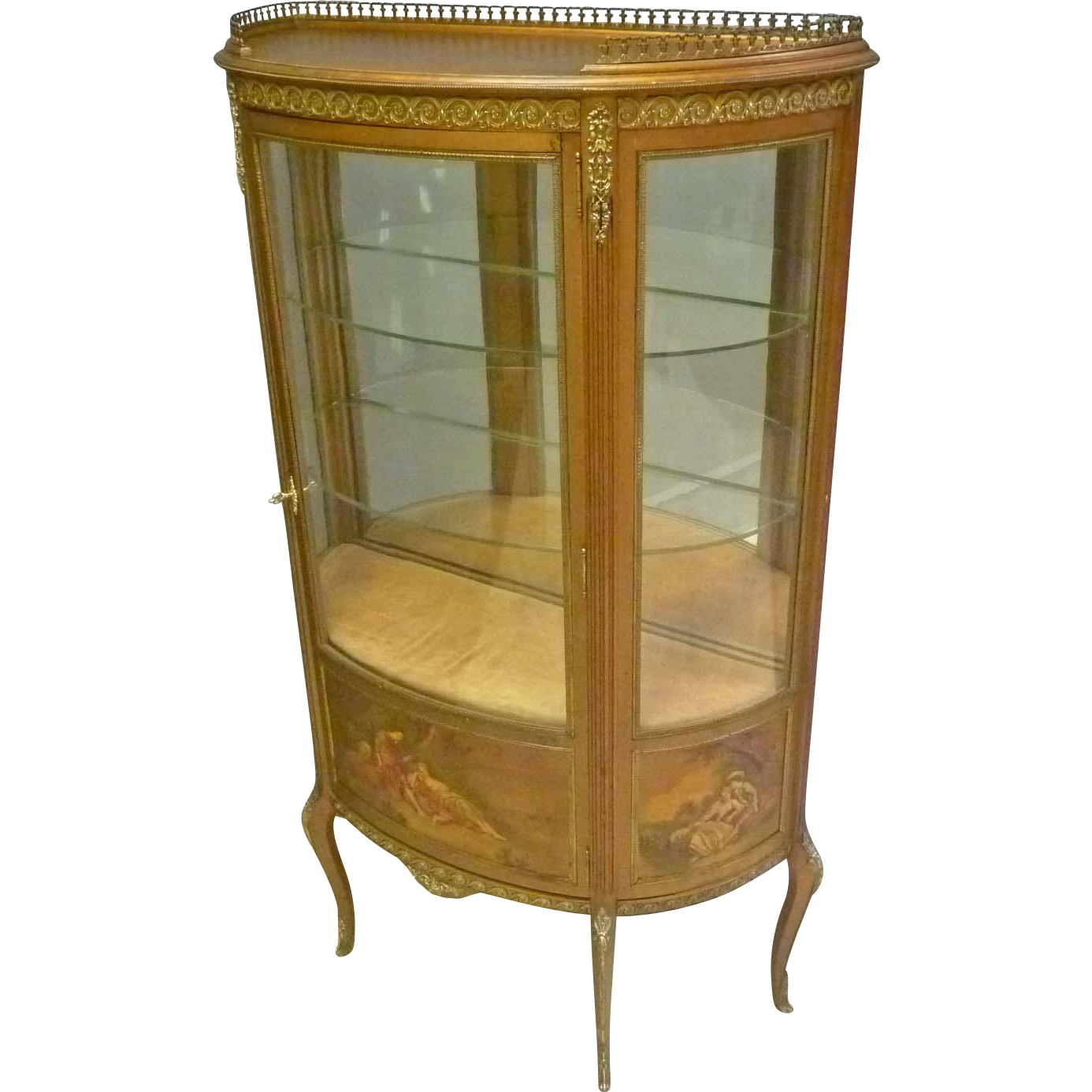 French style hand painted gold vitrine curio cabinet for Sideboard und vitrine