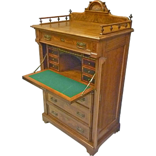 Victorian Lock Side Chest of Drawers with Desk