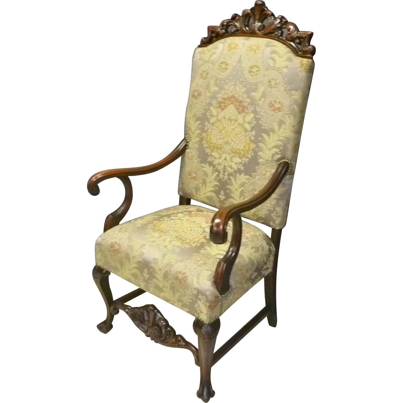 Carved High Back Armchair
