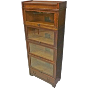Narrow Mission Oak Barrister Bookcase by Globe Wernicke