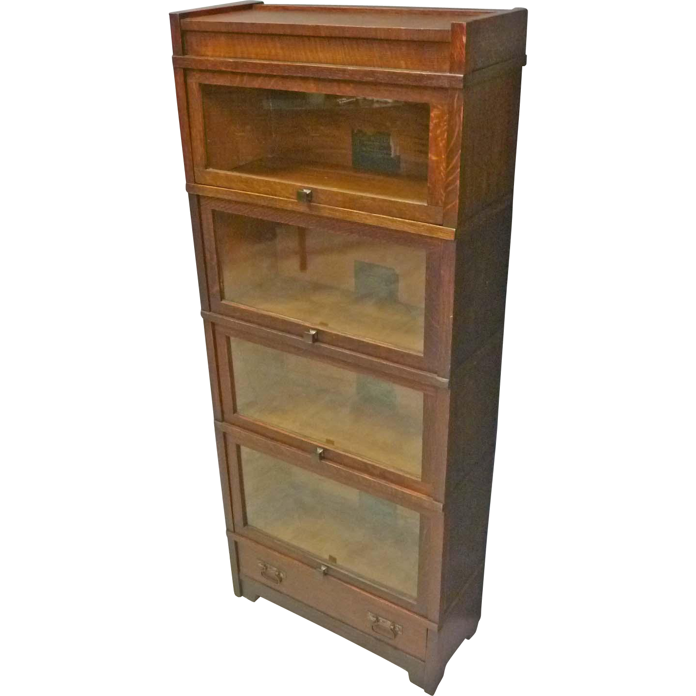 Narrow Mission Oak Barrister Bookcase by Globe Wernicke
