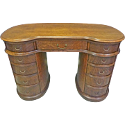 Kidney Shaped Oak Desk