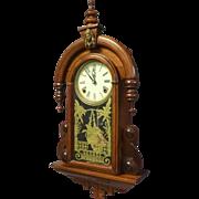 Victorian Style Walnut Wall Hanging Clock