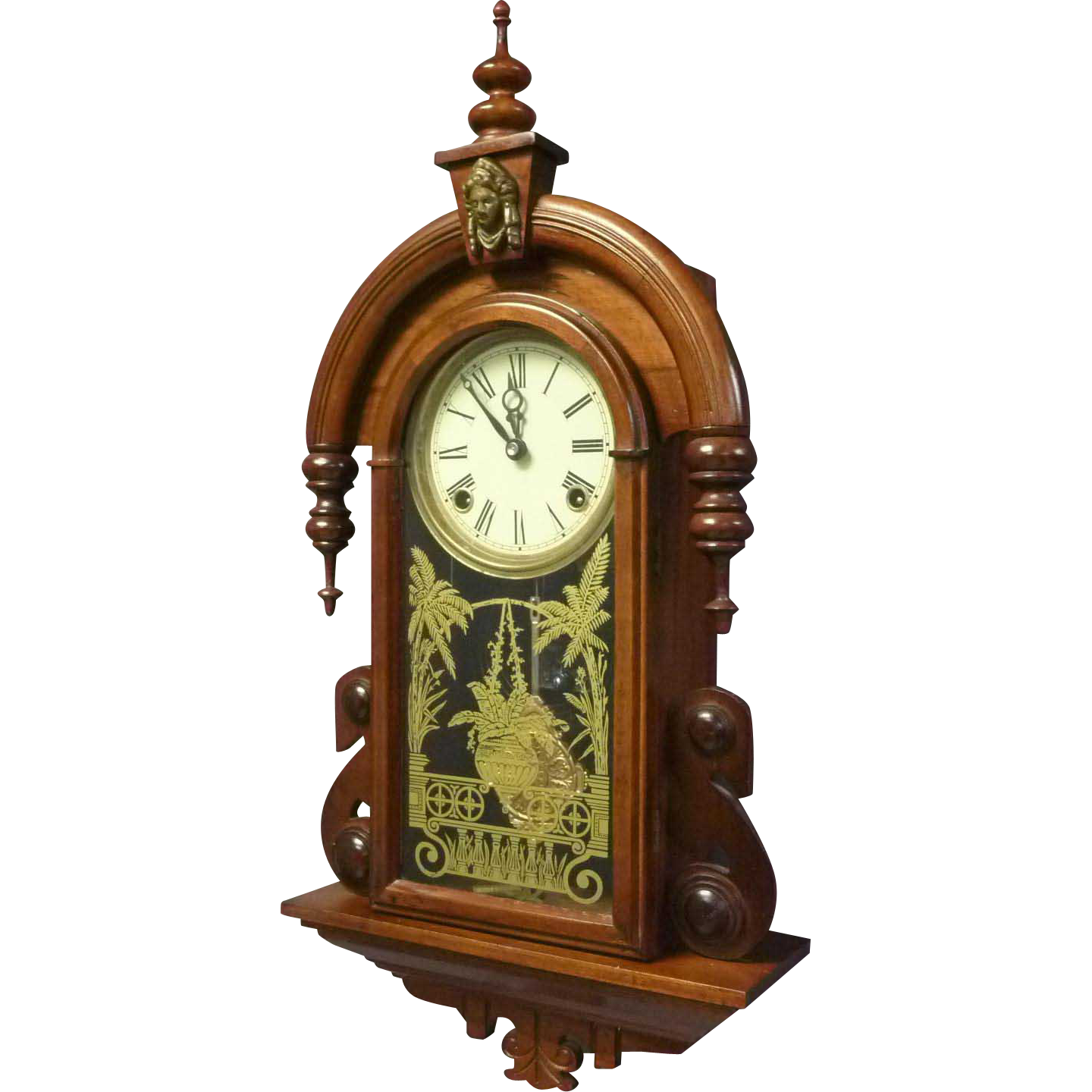 Victorian Style Walnut Wall Hanging Clock
