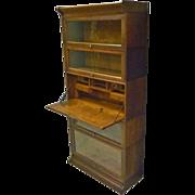 Oak Barrister Bookcase with Desk by Gunn