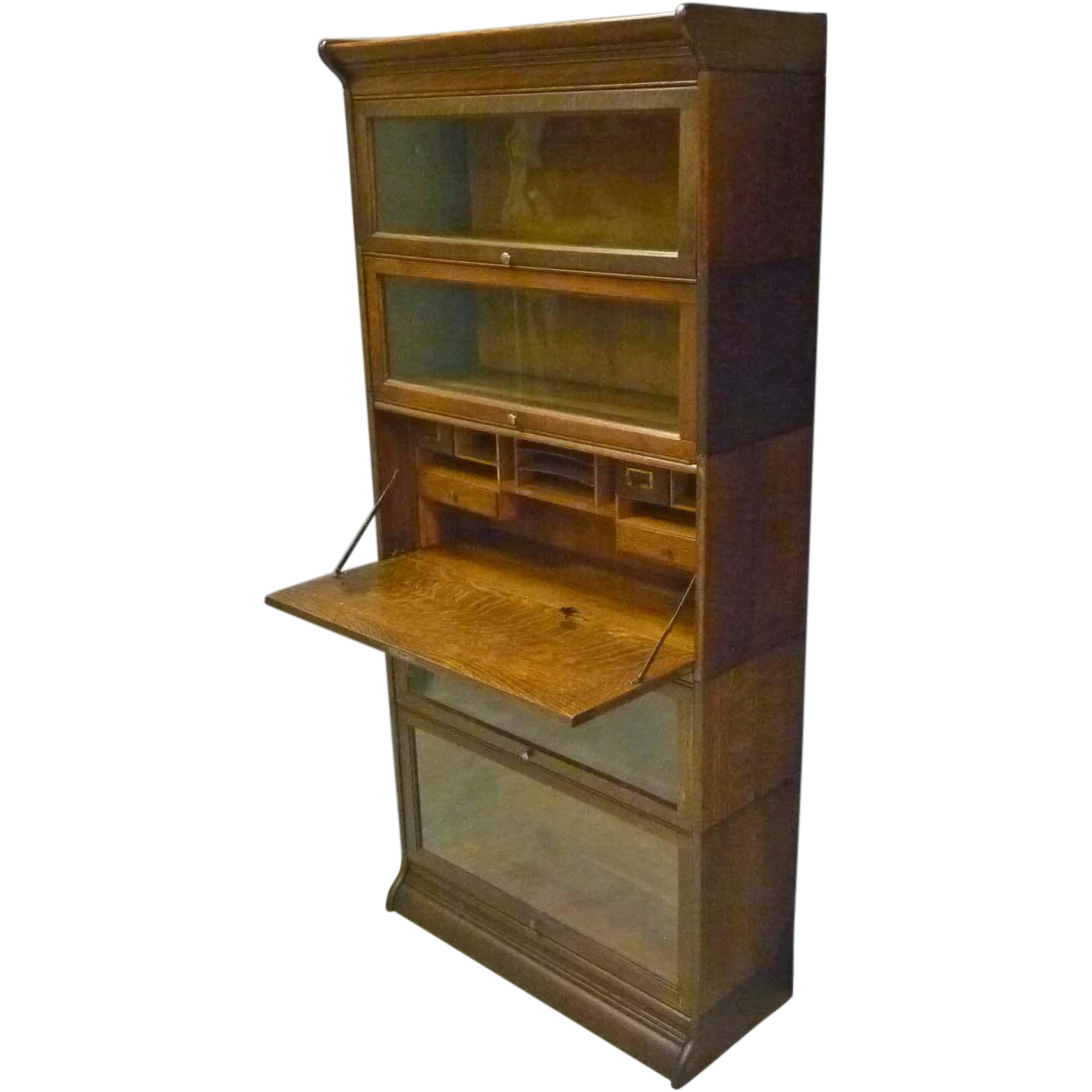 Oak Barrister Bookcase with Desk by Gunn