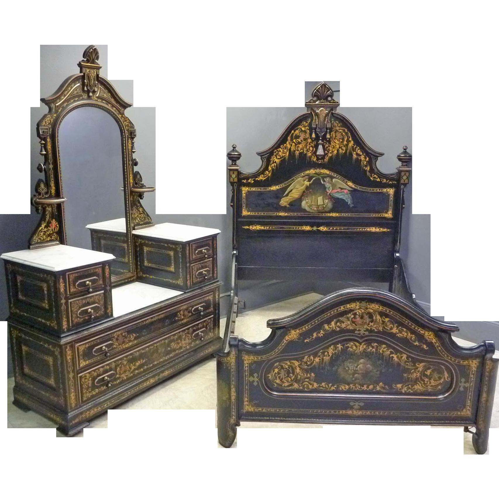 Rare Cottage Bedroom Set by Hart Ware & Co., Philadelphia