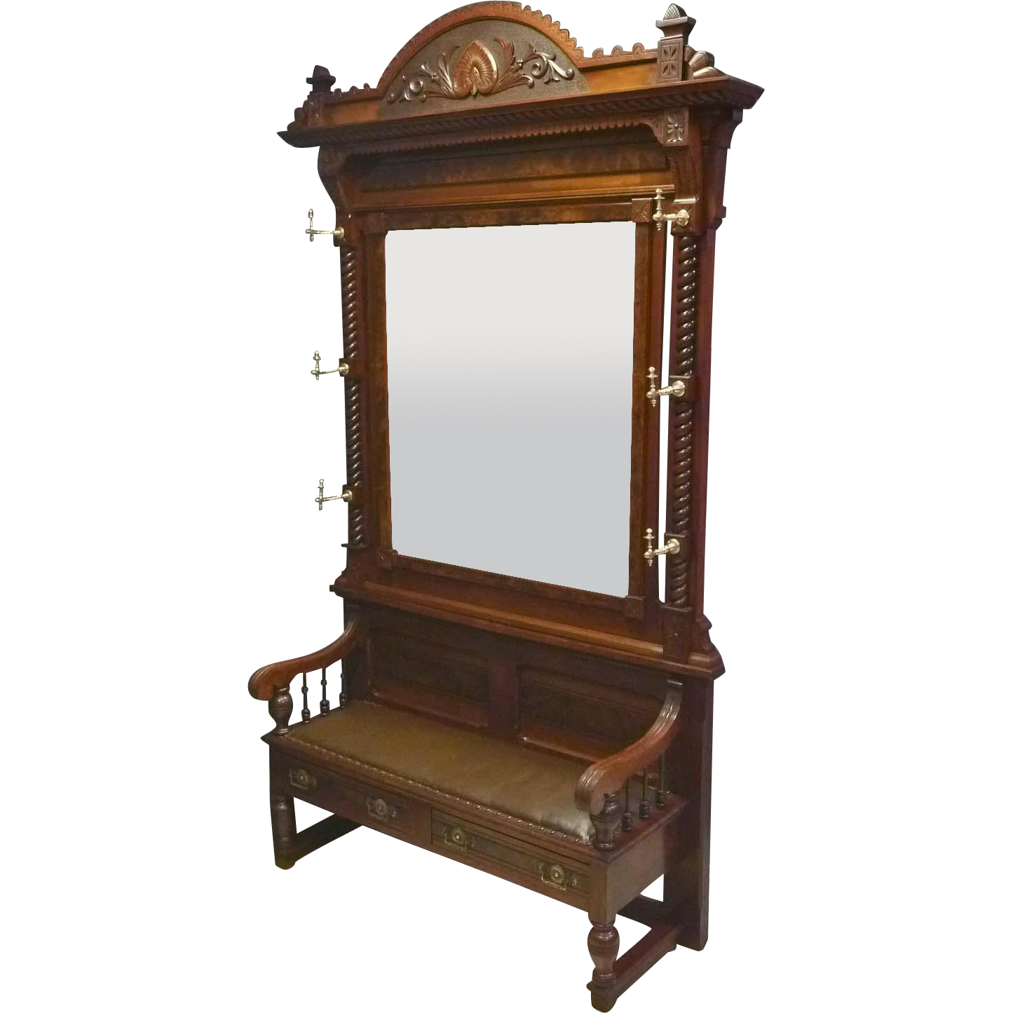 Victorian Hall Bench with Mirror, Hall Tree