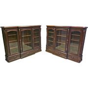 Pair Walnut Bookcases