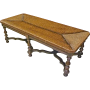 William & Mary Fireside Bench with Rush Seat