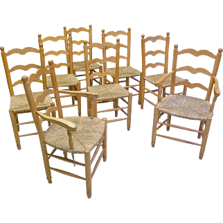 Set of 8 Ladder Back Chairs with Rush Seats