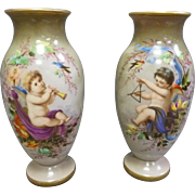 Pair Bohemian Opaline Vases, Signed Ahne