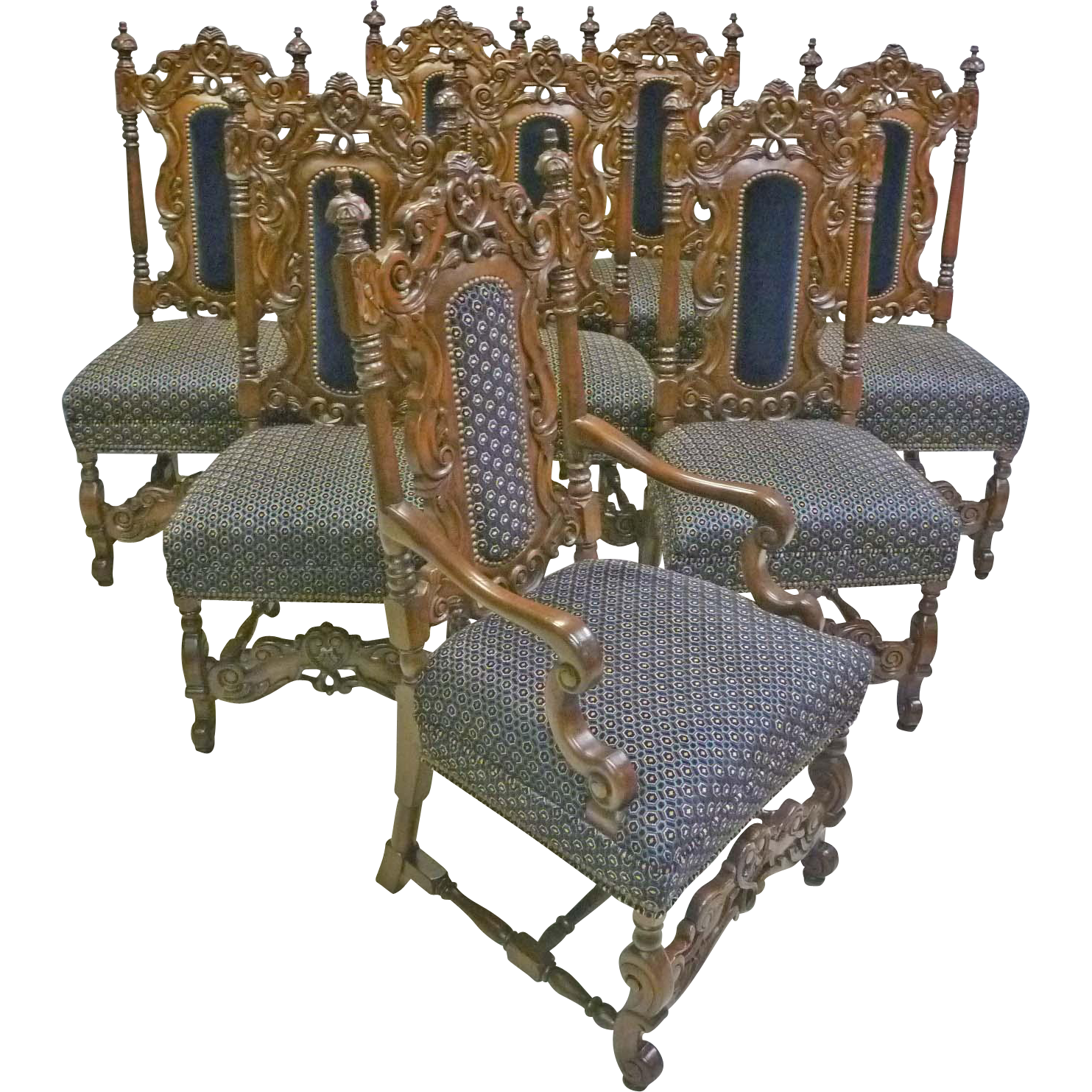 Victorian style chair - Set Of 8 Jacobean Victorian Style Dining Chairs