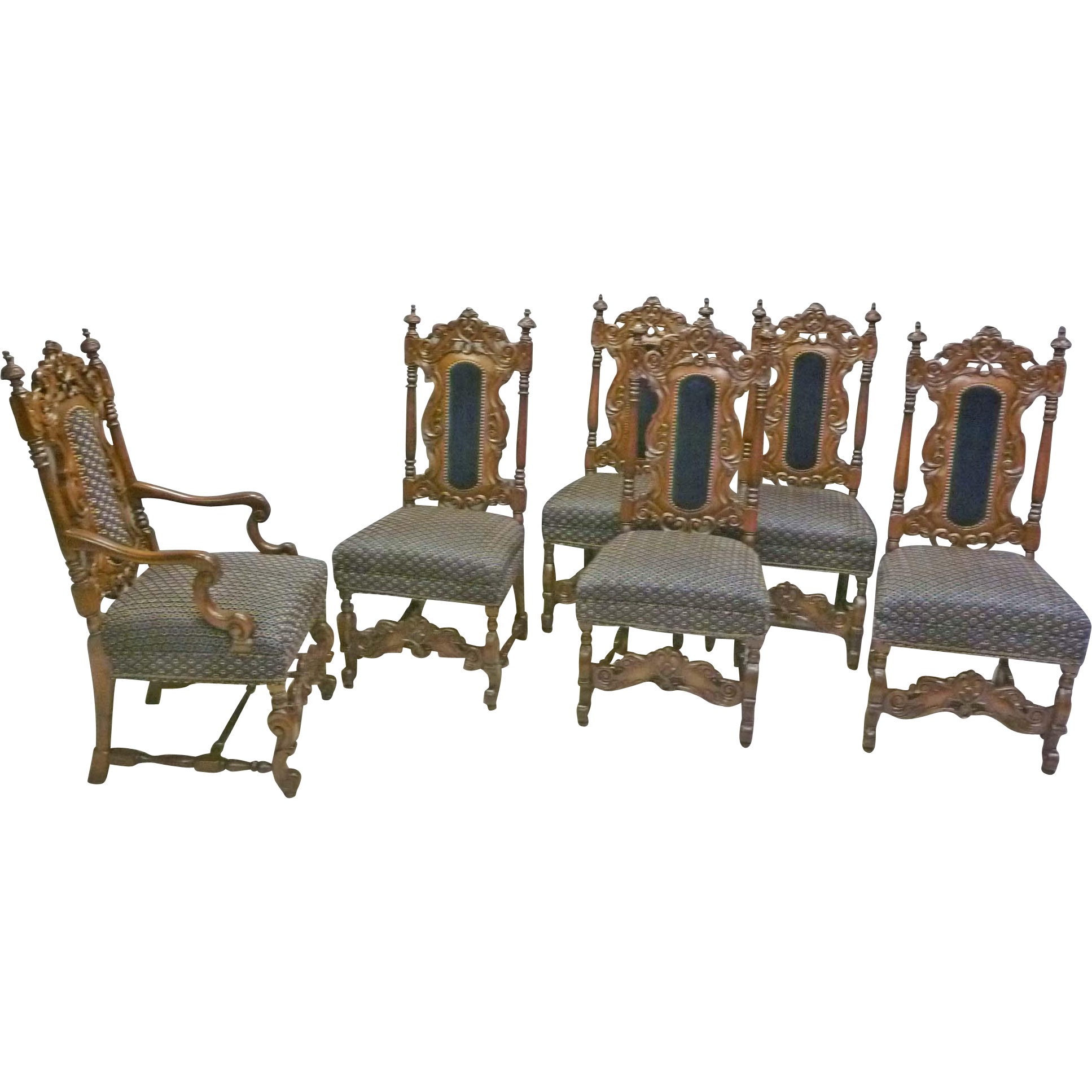 Set of 6 Jacobean, Victorian Style Dining Chairs