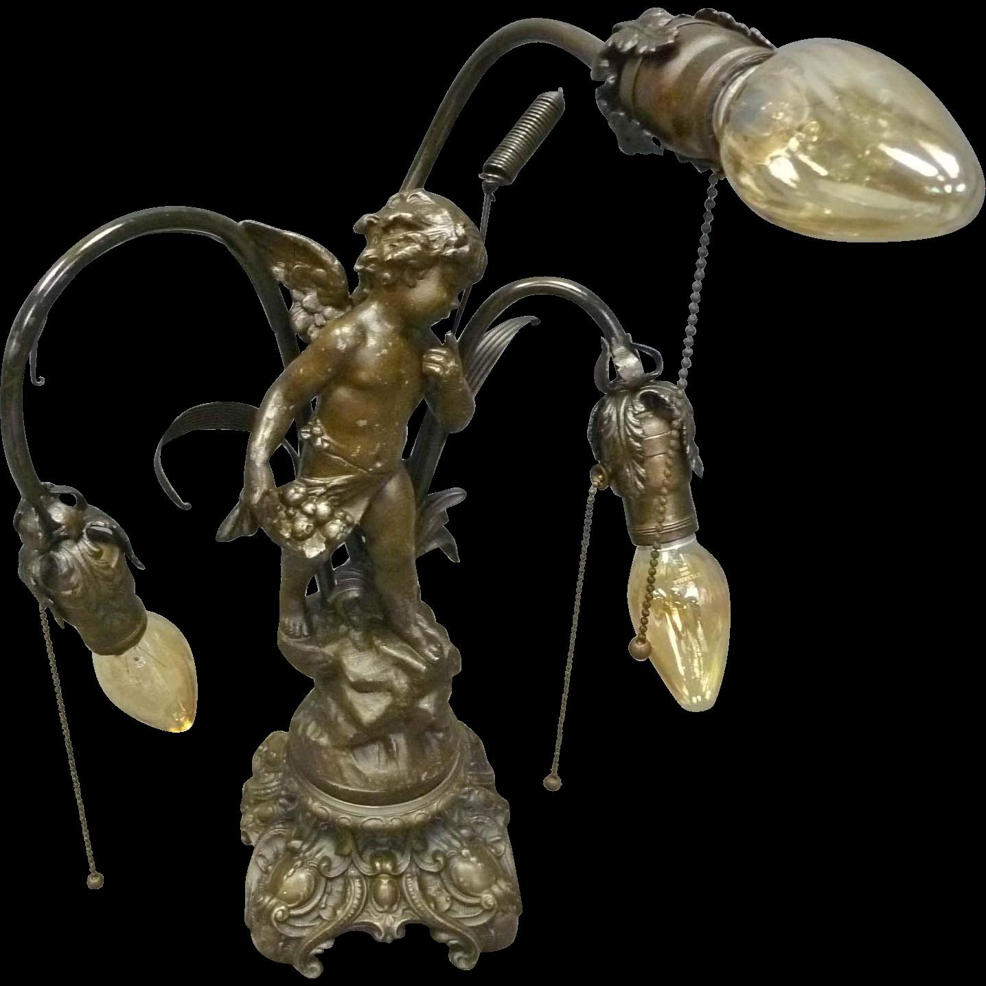 Victorian Cherub Lamp, Newel Post Light