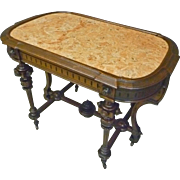 Victorian Marble Top Table, Parlor Table