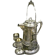 Silver Plate Victorian Water Pitcher with Double Goblets