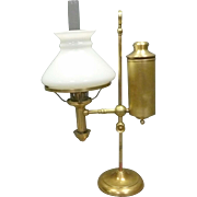 Brass Student Oil Lamp, Never Electrified