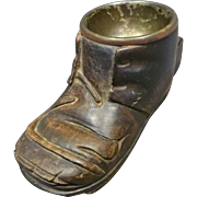 Wooden Baby Shoe Ashtray with Match Holder