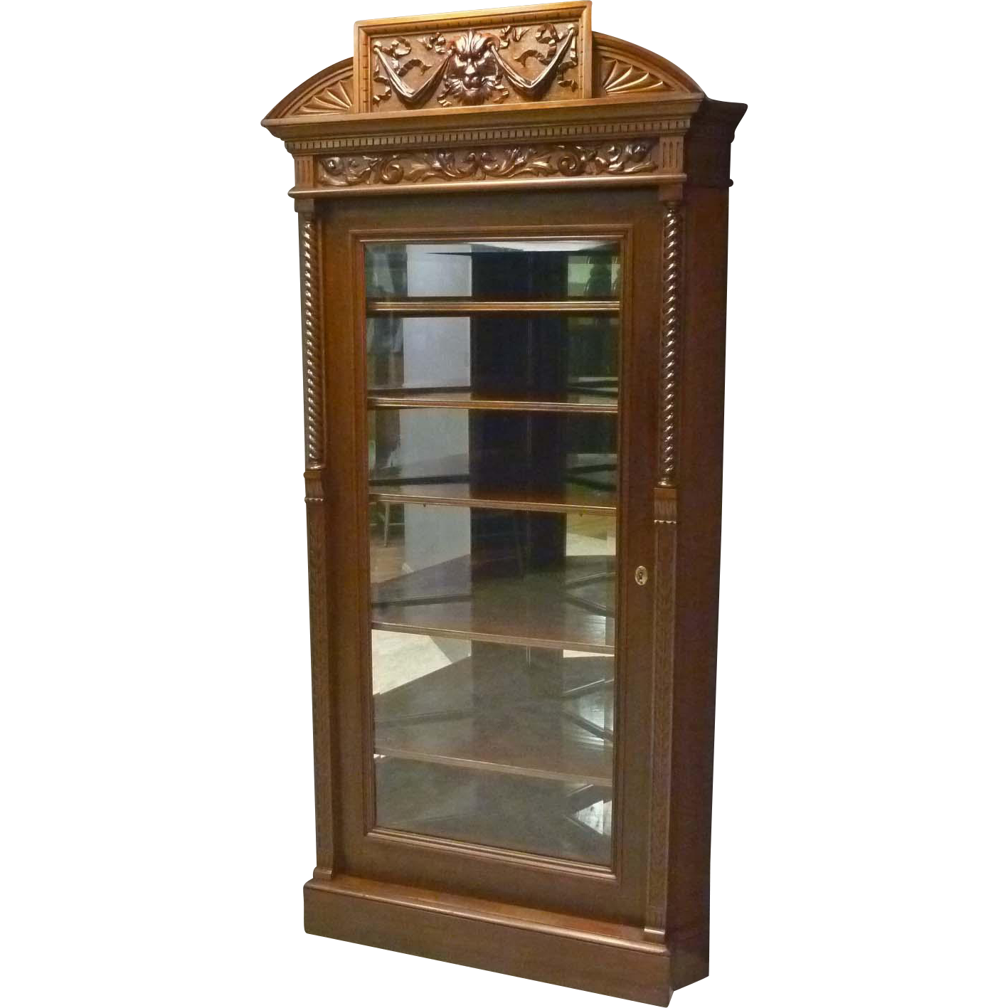 Lion Carved Mahogany Corner China Cabinet
