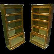 Pair Oak Barrister Bookcases by Gunn