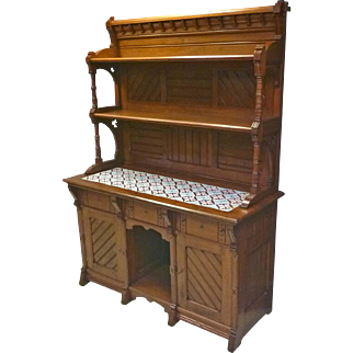 Aesthetic Victorian Sideboard with Tiled Top