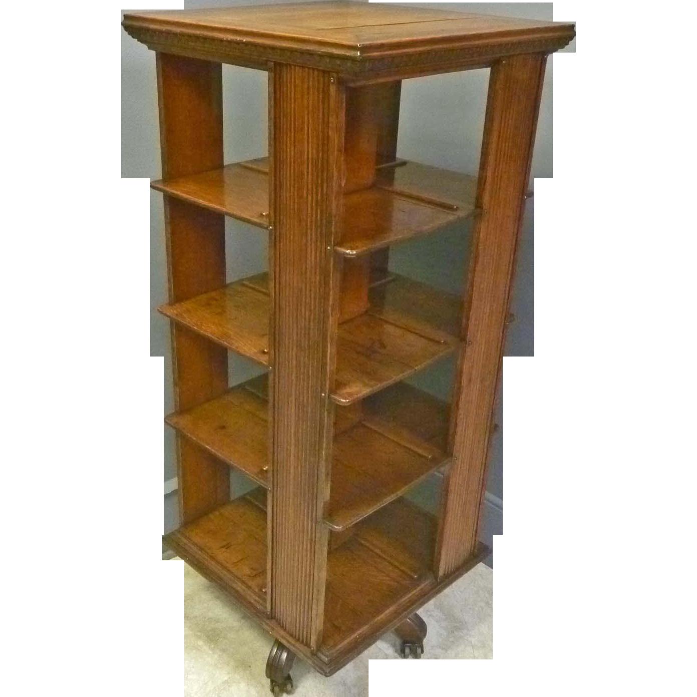Oak Revolving Bookcase by Globe