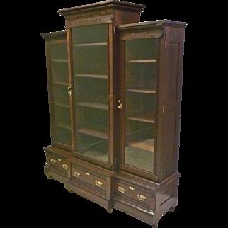 Victorian Walnut Triple Door Bookcase