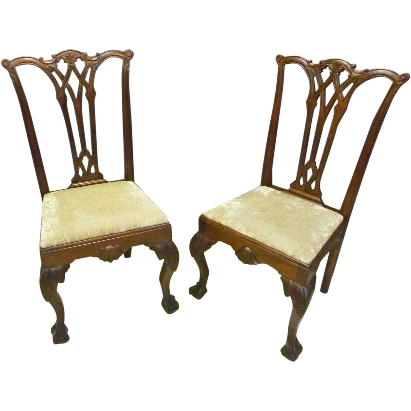 Pair Mahogany Chippendale Chairs