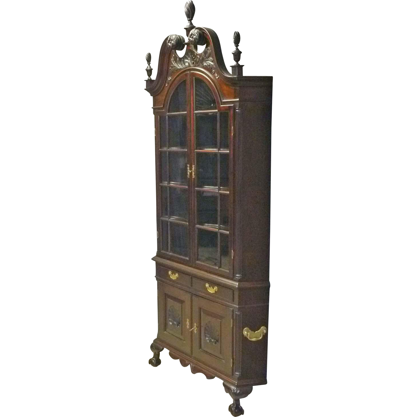 Mahogany Carved Corner Cupboard