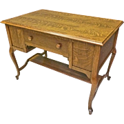 Unusual Oak Flat Top Desk