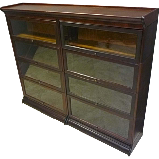 Double Wide Mahogany Barrister Bookcase by Gunn