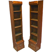 Pair Cherry Narrow Bookcases