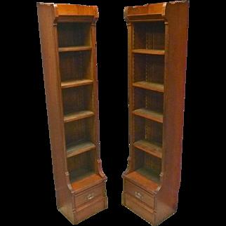 Pair Cherry Narrow Bookcases