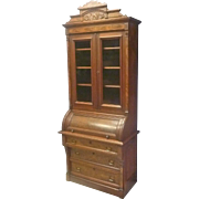 Narrow Victorian Cylinder Roll Secretary Desk