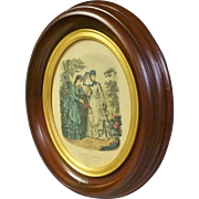 Oval Walnut Frame with Victorian Print