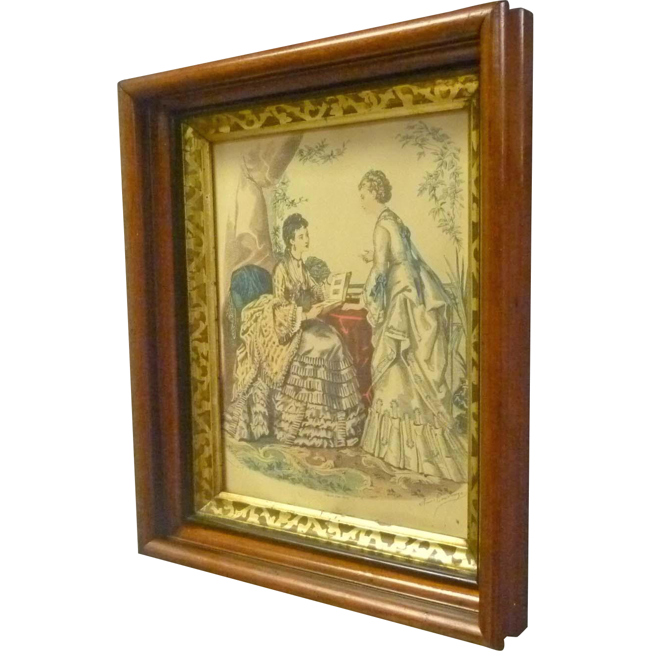 Walnut Victorian Frame with Print