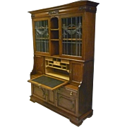 Oak Secretary, Bookcase with Leaded Glass
