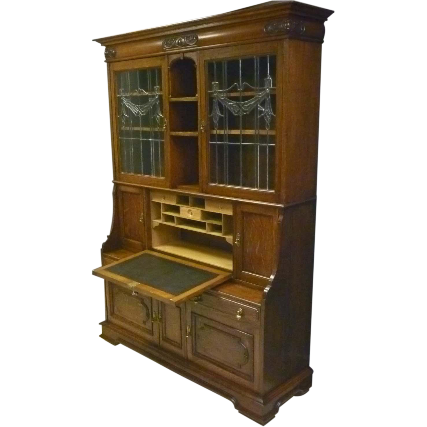 Oak Secretary, Bookcase with Leaded Glass