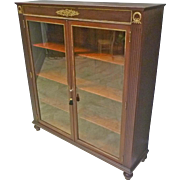 Mahogany 2 Door Bookcase with Ormolu Trim