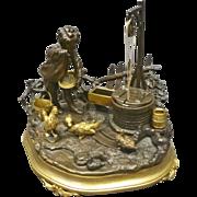 Gilded Bronze Inkwell