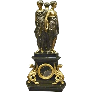 French Mantle Clock with Gilded Trim & Bronze Statue