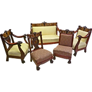 5 piece Lion Carved Parlor Set