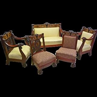 5 piece Lion Carved Parlor Set