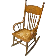 Child's Press Back Oak Rocker